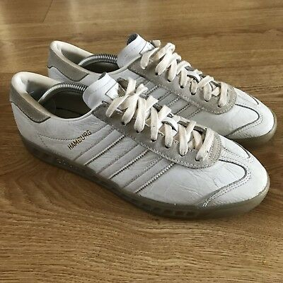 Adidas Hamburg Colorway Trainers Shoes Size 9 White Leather  RARE Casuals VGC