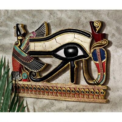 Egyptian Eye of Horus Wall Sculpture Collectible Home Decor Hanging Amulet Luck