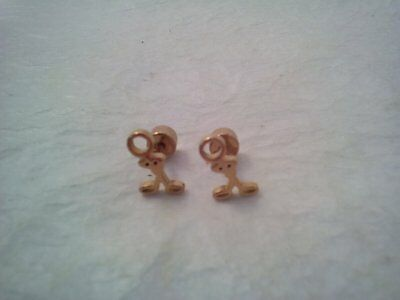 Set of Gold Colored Stick Figure Earrings, Studs with Screw Backs