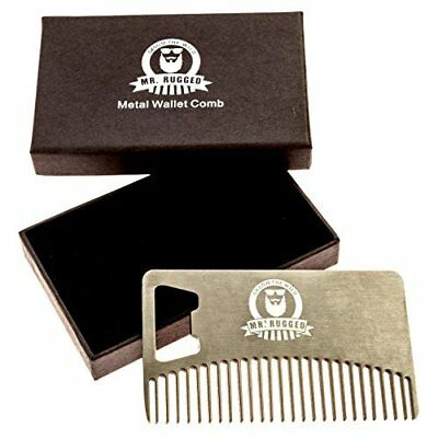 Mr. Rugged Compact Stainless Steel Beard Comb, Credit Card Sized Metal Comb