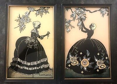 Vintage Matching Pair of Women and Foliage Glass Silhouette Pictures