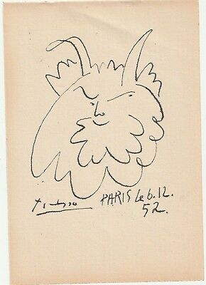 Pablo Picasso Ink Drawing On Old Paper Faun