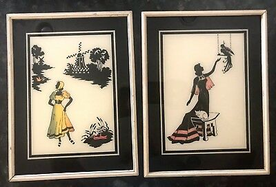 """Vintage Matching Pair of Women Glass Silhouette Pictures - Large 12.5"""" x 9.5"""""""