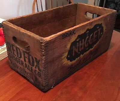 Vintage RED FOX Ginger Ale Co., NUGGET, Wooden Soda Crate, Prov., Rhode Island