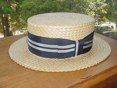 Beautiful Vintage Straw Boater Hat Excellent Condition 7 1/4