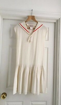 Vintage Radley Cream & Red Cotton Sailor Dress - Uk 12