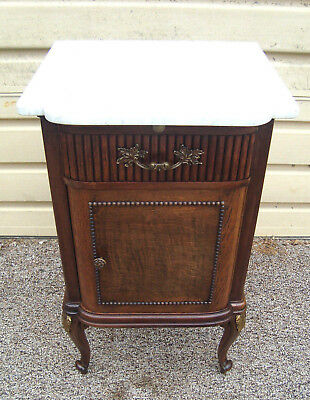00001 Antique Oak French Marble Top Nightstand End Table W/pull Out