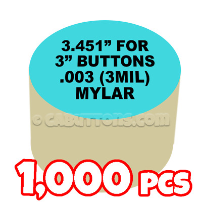 "3"" Tecre Mylars Clear Plastic Cover for Button Maker Badge Machine Press - 1000"