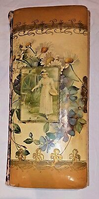 Art Nouveau Victorian celluloid antique beautiful cabinet card photo album RARE