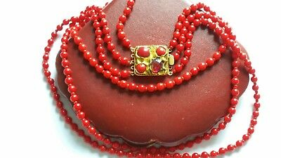 Czech Vintage 3 Rows Red Glass Bead Necklace Pretty Box Clasp