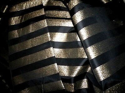 Vtg Black & Metallic Gold Stripe Silk Taffeta Fabric-BTYx60W-4 Yds Available
