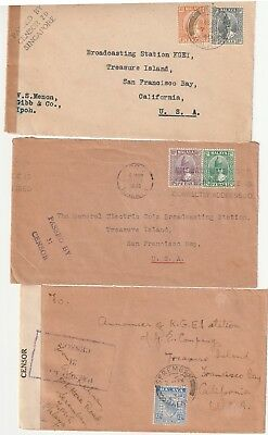 Malaya, 3 Censored Wwii Cover Fronts From Perak And Negri Sembilan