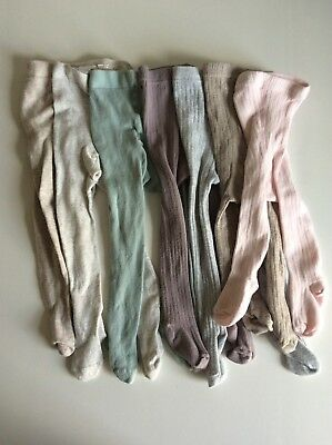 H&M Mauve Purple Pink Grey Ribbed Sage Green Brown Baby Girl Tights 2 3 6 Months