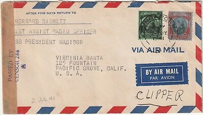 Malaya, Straits Settlements 1941 Clipper Mail To U.s. From Singapore Nice Franki