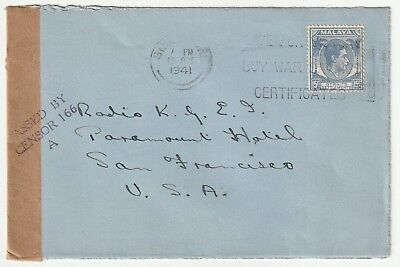 Malaya, Straits Settlements , Oct 1941 Surface Mail To U.s.censored W/patriotic