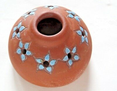 Wellfleet Pottery Red Clay Blue Flower Frog, Signed Marked, 2""