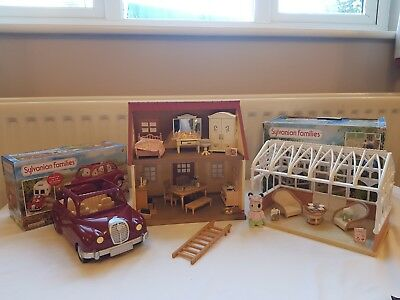 Sylvanian Families Bundle: House, Car, Conservatory, Furniture & Accessories