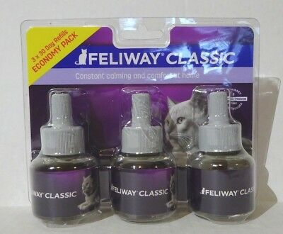3 Pack Feliway Classic 30 Day Refill Diffuser 48ml (Total 144ml) Exp 09/2020