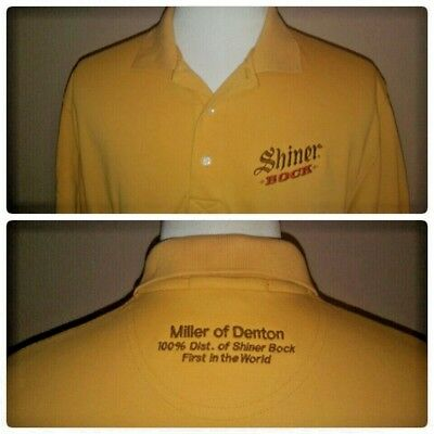 Shiner Bock Texas Beer Mens Polo Shirt XL Yellow Short Sleeve Miller of Denton