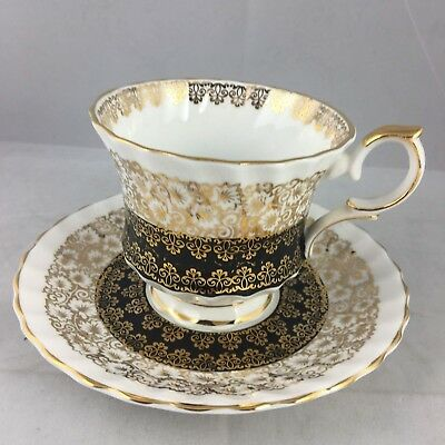 Queen Anne Black Banded Cathedral Scroll Drapery Cup and Saucer Teacup England
