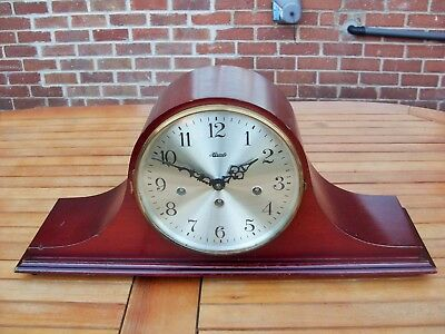 8 Day Hermle Westminster Chime Floating Balance Mantel Clock In Lovely Mahogany.