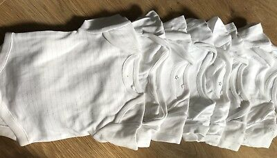 Next White Short Sleeved Baby Vest Boy/Girl (8 Vests) First Size