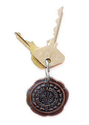 Vintage Brass THE MADISON WASHINGTON D.C. PRESIDENTS Hotel Room 1104 Keys & Fob