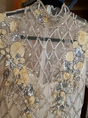 BOB MACKIE BEADED TOP   (mermaid theme) WOMENS SIZE 8 (bottom of dress ruined)
