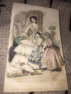 Godey's Colored Fashions Mother&2 Girls & Baby In Victorian Dress Magazine Print
