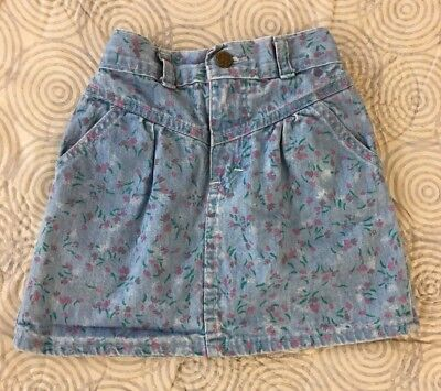 Vintage Osh Kosh Denim Skirt Girls Sz 5 Pink Floral USA