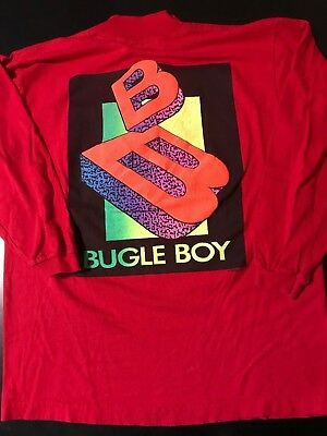 Vintage 80s Bugle Boy Youth Kids XL Long Sleeve Red Shirt Skateboarding