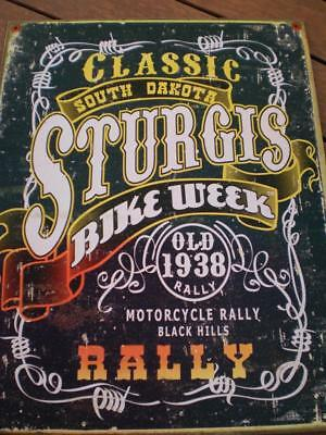 Vintage look tin sign Sturgis south dekota old 1938 black hill rally  2006 Usa