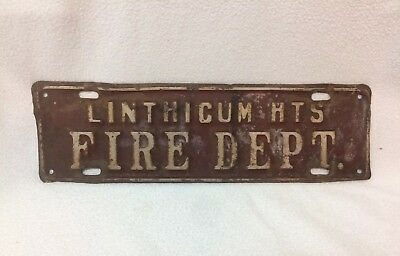 RARE Linthicum Hts (MARYLAND) Fire Dept LICENSE PLATE Topper Piggyback