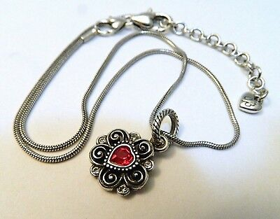 Brighton Silver Reversible Pendant Necklace Red Crystal Heart Snake Chain