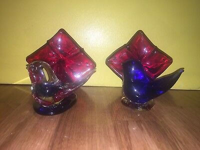 RARE Lot Leo Ward Signed Dated Cobalt Blue & Clear Birds Against Red Flower