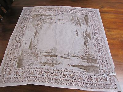 Vintage Christian Dior Scarf, Silk, Made in France, Scenic, Muted Colors, Birds