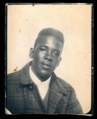 SHARP YOUNG BLACK MAN 'MY BEST YEAR' IN PHOTOBOOTH-1960s Vintage photo-booth