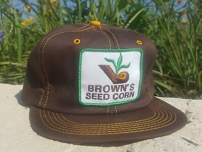 Vintage BROWNS SEED CORN Snapback Trucker Hat Patch K BRAND Made In USA