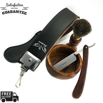 Men's Shaving Kit Hair Shaving Brush Razor Stand Holder Bowl Soap Set Safe
