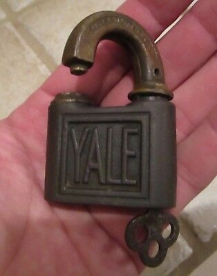Vintage Padlock With Key Yale & Towne Mfg Co. Brass & Steel Lock Antique