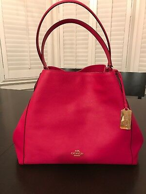 7403a48e83 Coach Pink Refined Pebble Leather Edie Shoulder Bag Used 3 Times No Wear!