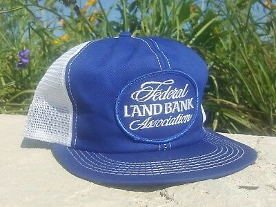 Vintage FEDERAL LAND BANK Mesh Snapback Trucker Hat Patch K BRAND Made In USA