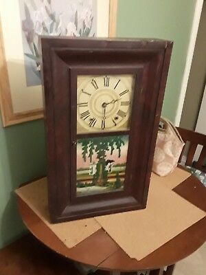 Antique  1830's Smith and Blakesley OGEE Clock Weight Driven Wood Works Movement