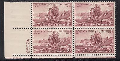 UNITED STATES 1954 3cLewis and Clark Anniv.  PLATE  Block of 4 MNH