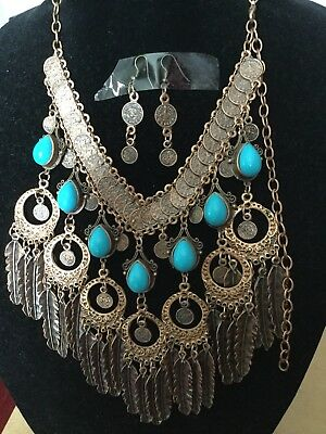 Rare American Native Indian Tribal Style Brass Huge Necklace,Earings Set Handmad