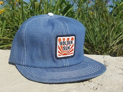 Vintage GOLDEN SUN Denim Snapback Trucker Hat Patch K PRODUCTS Made In USA