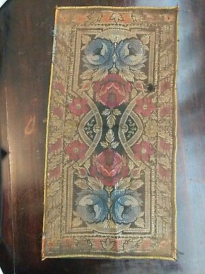 Antique Victorian Arts & Crafts ~ Nouveau Table Runner Doily Gold Thread Roses