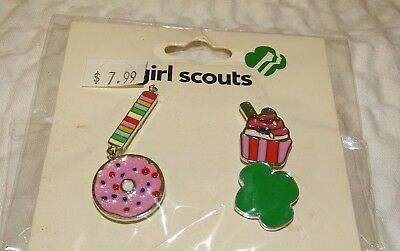 Girl Scout Scouts Mini Pin Set 4 Piece Set Trefoil donut cupcake candy New