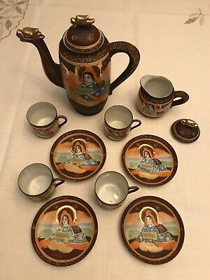 12 Pc Hand Painted Moriage Satsuma Dragon Teapot Tea Set Japanese Takito TT