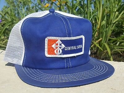 Vintage CENTRAL SOYA Mesh Snapback Trucker Hat Patch K BRAND Made In Usa